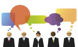 Business people with speech and thinking balloons Royalty Free Stock Photography