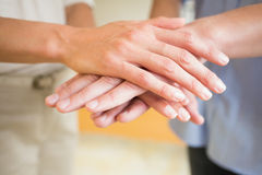 Business people stacking hands. Closeup of business people stacking hands in office Stock Image