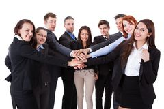Business people stacking hands. Over white background Royalty Free Stock Images