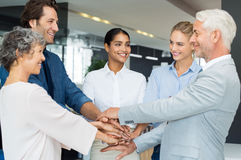 Business people stacking hands. Successful business people stacking hands in modern office. Multi ethnic successful businessmen and businesswomen with their Stock Images
