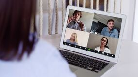 Business people staff team video conferencing in group chat call working from home office. Employees group participating