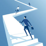 Business people and stairs. Business people run up the stairs, employees climb up the stairs, business concept competition and career growth Royalty Free Stock Photography