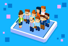 Business People Stand On Big Cell Smart Phone Social Network Communication Group 3d Isometric. Business People Big Cell Smart Phone Social Network Communication Royalty Free Stock Photo