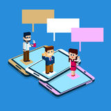 Business People Stand On Big Cell Smart Phone Social Network Communication Man Woman With Chat Bubble. 3d Isometric Flat Design Vector Illustration Stock Photos