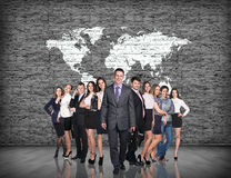 Business people stand on the big map background Stock Image