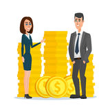 Business people stand near a pile of coins concept Stock Image