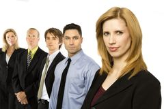 Business people stand together. Five business people stand confidently Stock Image