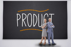 Business people standing against product Stock Photography