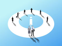 Business people standing around info symbol Royalty Free Stock Photo