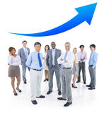 Business People Standing and Arrow Above Royalty Free Stock Photography