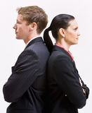 Business people standing back to back. Two business people standing back to back Stock Photos