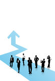 Business people. Are standing on the blue arrow Royalty Free Stock Photos