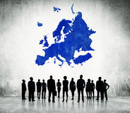 Business People Standing with Blue Europe Cartography Stock Photos