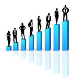 Business people standing on 3d financial bar graph. Group black silhouette concept businesspeople team vector growth chart Royalty Free Stock Photography
