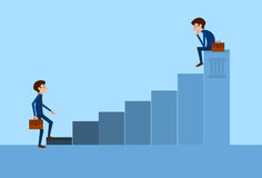 Business People Standing Financial Bar Graph. Concept Businesspeople Team Vector Growth Chart Illustration Royalty Free Stock Photo
