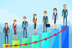 Business People Standing Financial Bar Graph. Group Concept Businesspeople Team Vector Growth Chart Illustration Stock Image