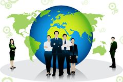 Business People standing in front of globe. Easy to edit vector illustration of business people standing in front of globe vector illustration