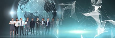 Business people standing in front of world globe with lights royalty free stock images