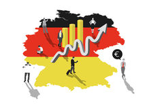 Business people standing on germany with flag colours Royalty Free Stock Image