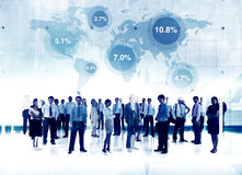 Business People Standing Global Percentage Map Concept Royalty Free Stock Image