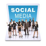 Business people standing on laptop stock images
