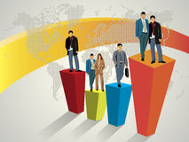 Business people standing on large graph Royalty Free Stock Image