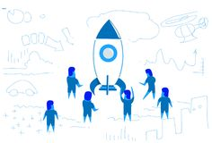 Business people standing at launching rocket startup project concept teamwork brainstorming strategy horizontal sketch royalty free illustration