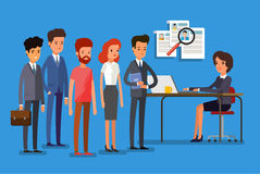 Business people standing in a line. Concept of search staff. Creative people stand in line to the HR manager. Flat design, vector illustration Royalty Free Stock Photos