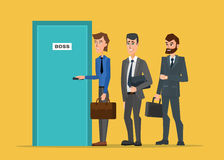 Business people standing in a line to the door of the boss. Stock Photo