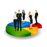 Business People standing over Pie Chart. Easy to edit vector illustration of business people standing over pie chart royalty free illustration