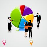 Business People standing over Pie Chart. Easy to edit vector illustration of business people standing over pie chart stock illustration
