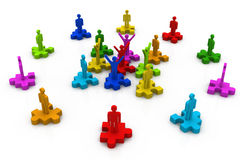 Business people standing on the pieces of a puzzle Stock Images