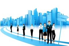 Business People standing on Road. Easy to edit vector illustration of businesspeople with skyscraper building on backdrop vector illustration
