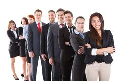 Business people standing in row. Over white background stock images