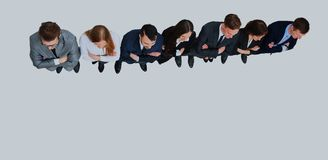 Business people standing in a row. top view. Business people standing in a row. top view Royalty Free Stock Photos