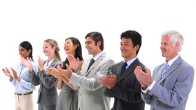 Business people standing side by side applauding Royalty Free Stock Photo