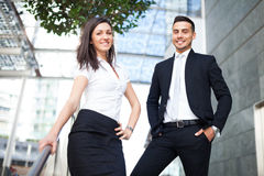Business people standing on stairs outdoor Royalty Free Stock Image