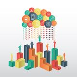 Business people standing on structure under app cloud Stock Photo