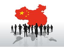 Business people standing under china graphic Royalty Free Stock Image