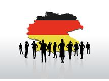 Business people standing under germany graphic Stock Photography