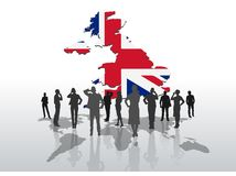 Business people standing under great britain graphic Royalty Free Stock Images