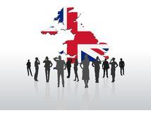 Business people standing under great britain graphic Stock Photos