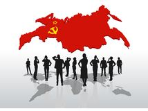Business people standing under russia graphic Stock Images