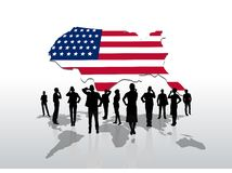 Business people standing under usa graphic Stock Images