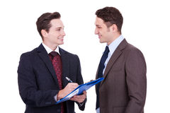 Business people standing working in team Stock Image