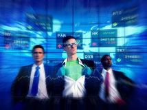 Business People Stock Market Superhero Concepts.  Royalty Free Stock Photography