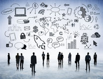 Business people strategic planning with symbol Stock Photo