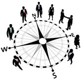 Business people strategy compass directions. Business people standing on compass pointing in directions of strategy stock illustration