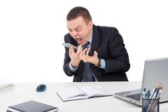Angry businessman with smartphone shouting. Business, people, stress concept - close up of angry businessman with smartphone shouting  isolated on white Royalty Free Stock Photo