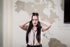 Business, people, stress, emotions and fail concept - angry busi Royalty Free Stock Photography